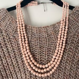 Gorgeous Blush Light Pink Beaded 3 Tier Necklace